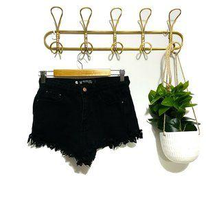 Used Denim Black Denim Distressed Shorts Size 10